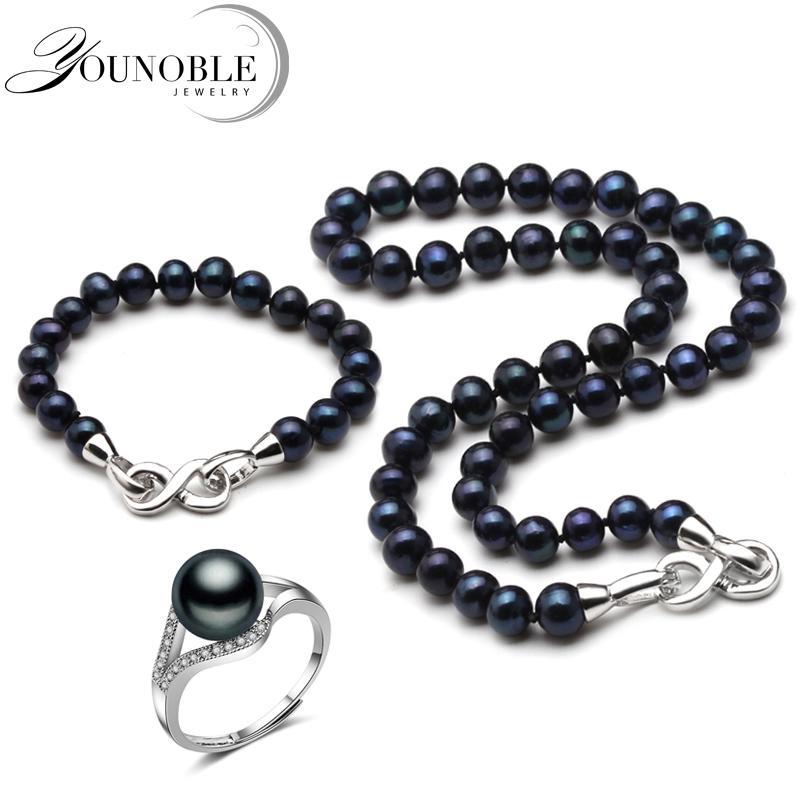 9eaf65e220cb Compre Joyería Real De Boda Con Perlas Negras Para Mujer