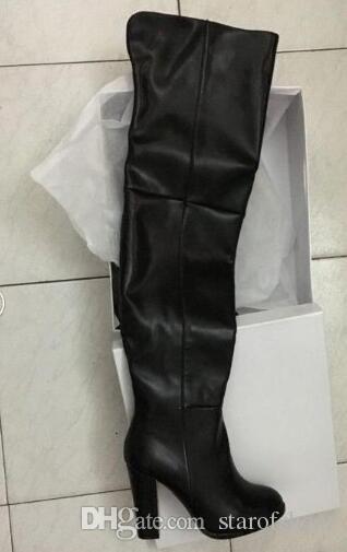 2018 donne moda stivali sopra al ginocchio punta punta stivaletti in pelle nera tacco alto tallone alto vestito alto stivali glaiator