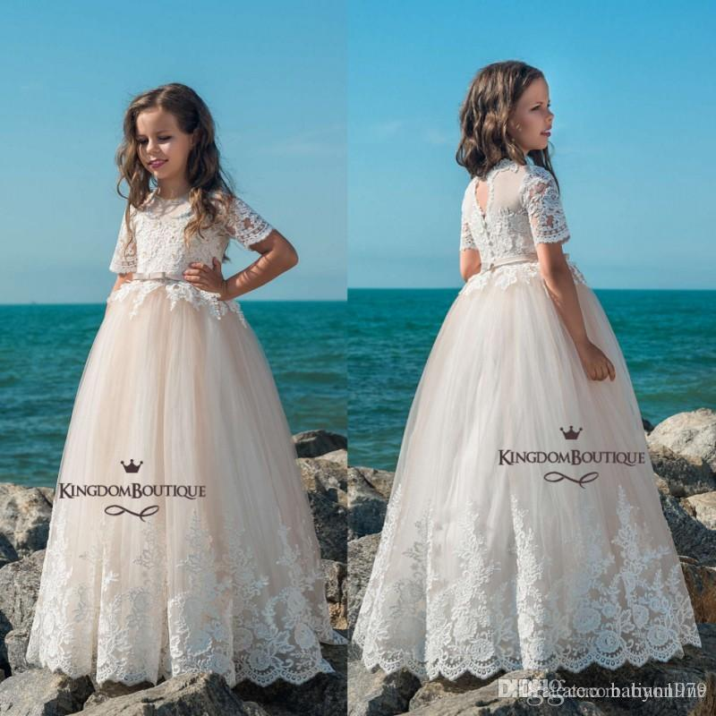 e00a25458975 Spark Crystals Belt Off The Shoulders Flower Girls' Dresses For Wedding  Cute Floor Length Princess Gown Puff Tulle Skirt Gir'S Pageant Flower Girl  Dresses ...