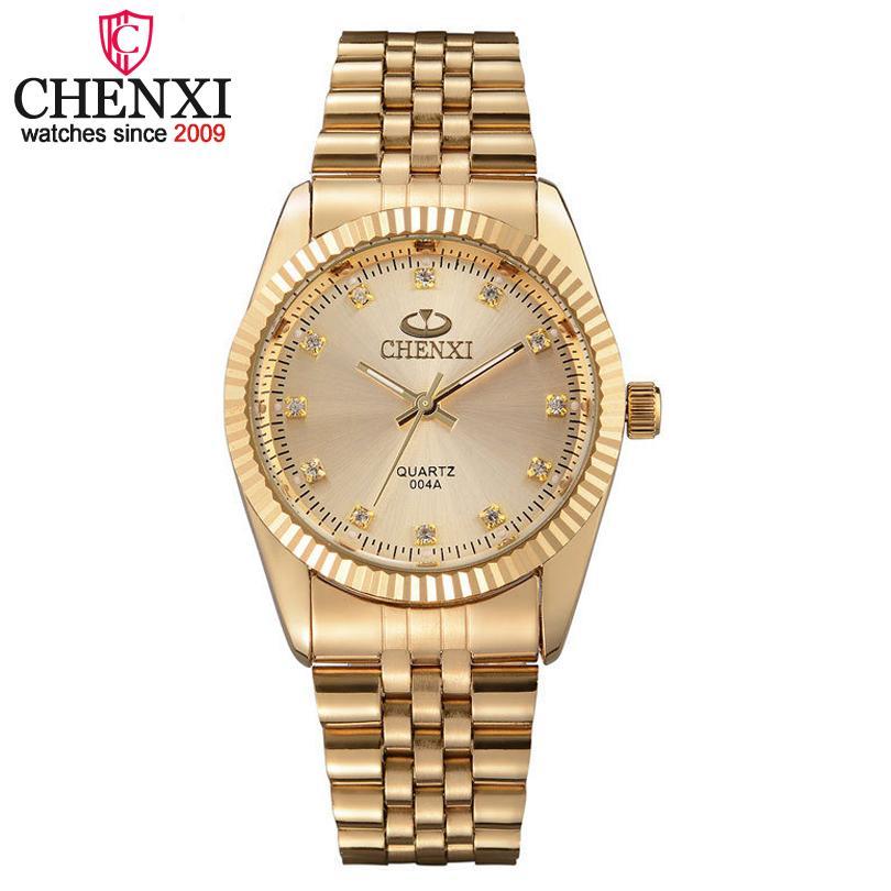 f6e46347f2f Compre CHENXI Homens Relógio De Ouro De Aço Inoxidável Masculino De Quartzo  De Ouro Relógios De Pulso Dos Homens Para O Homem Top Marca De Luxo De  Quartzo ...