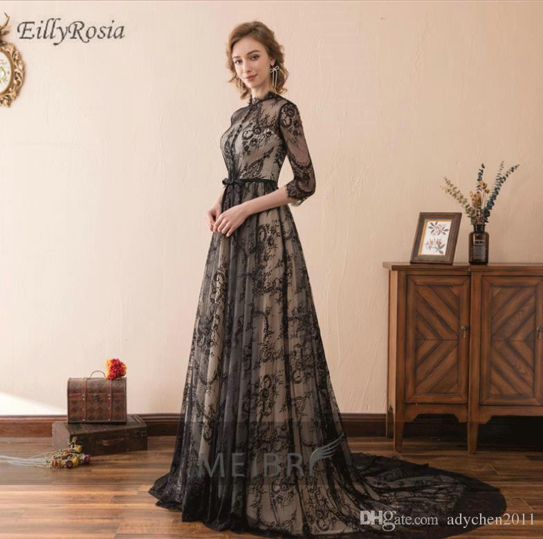 f05e626828e Vintage Lace Black Evening Dresses For Party 3 4 Long Sleeves Sexy Women Formal  Dinner Dress Evening Gowns Robe De Soiree Custom Made Grey Evening Dress ...