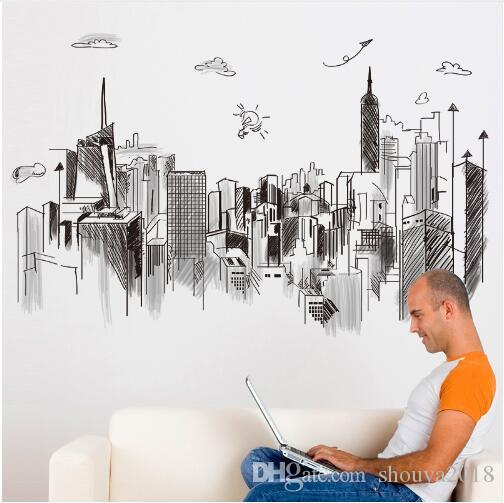 Black Color Tall Buildings Wall Stickers PVC Material DIY Mural Art for Living Room Sofa Backdrop Office Decoration