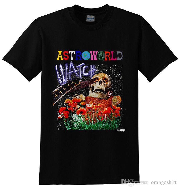 4baed0700ece AstroWorld Travis Scott Hip Hop Rap Top Tee Black T Shirt Designer White T  Shirts Designer Tee From Orangeshirt, $10.5| DHgate.Com