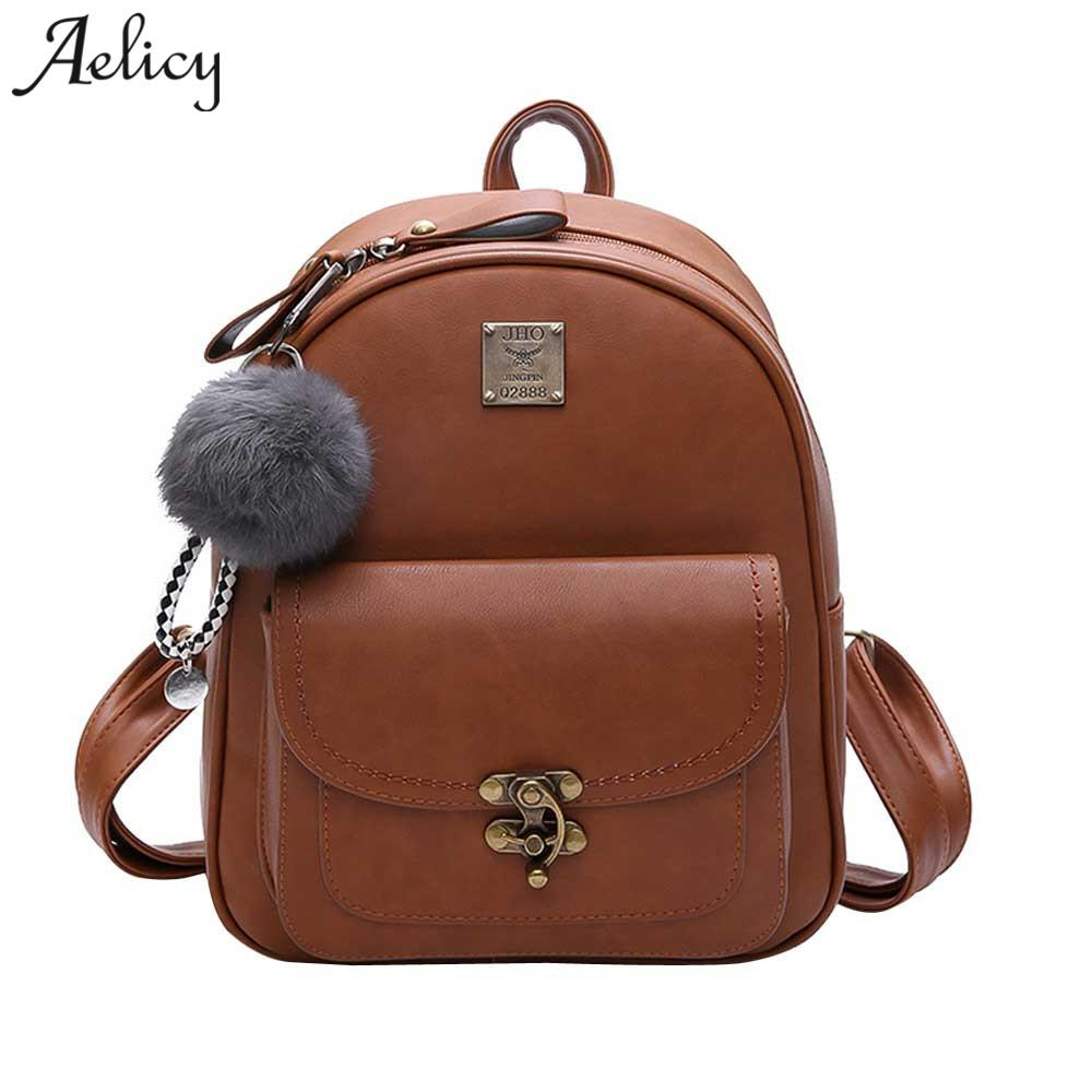 9752f8382f7 Aelicy Luxury Women BackpacFashion PU Leather Small Backpack School Bags  For Teenager Girl Solid Korean Fashion Backpack Laptop Backpack Backpacks  For Girls ...