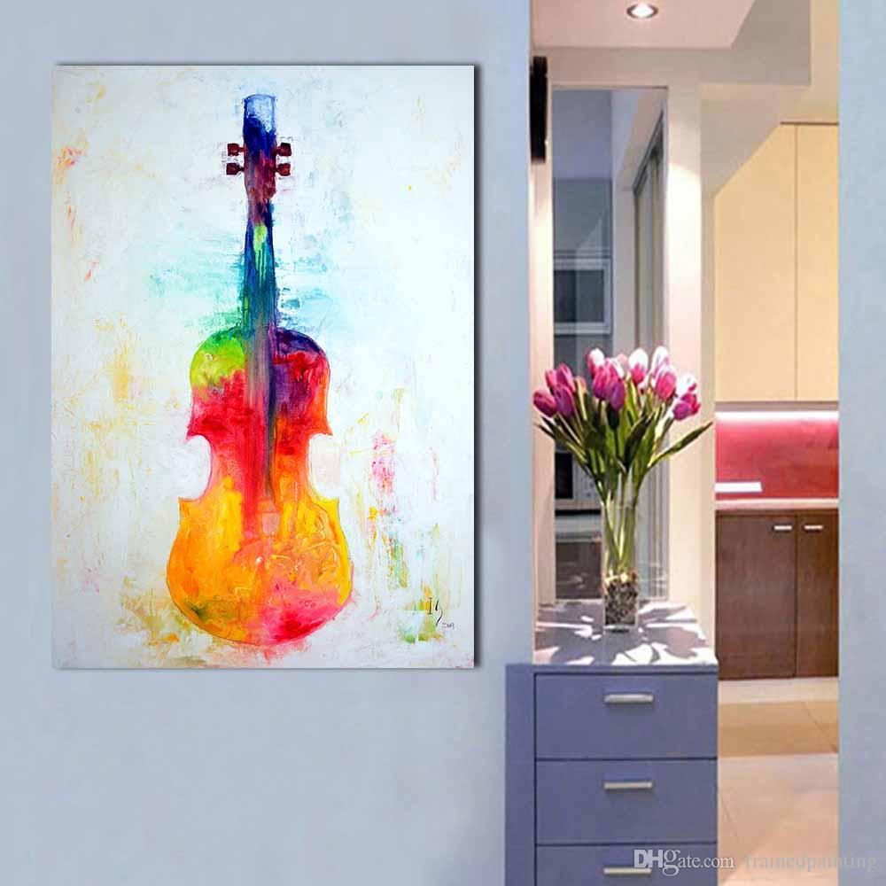 Acheter Peinture à L Huile D Art De Toile Décoration D Intérieur Violon Coloré Peinture Murale Photos Pour Salon Moderne No Photo Frame De 24 96 Du