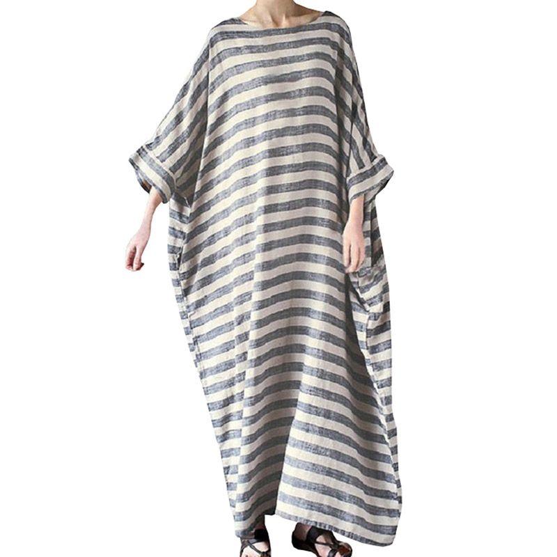 cf7706e6051 2018 Summer Plus Size Dresses For Women 3xl Big Size Loose Cotton Linen  Dress White Boho Long Sleeve Stripe Long Maxi Dresses Black Strapless Dress  White ...