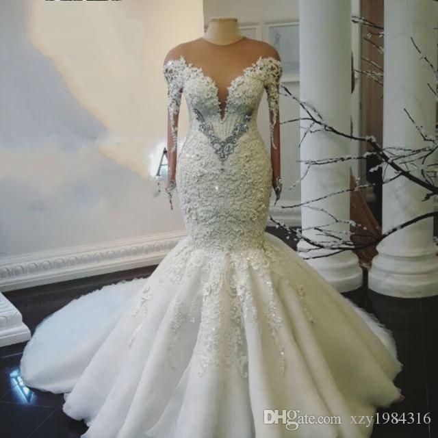fcec964b814 Plus Size Mermaid Wedding Dresses Sexy Sheer Jewel Neck Sequins Beads Lace  Applique Wedding Gowns Gorgeous Long Sleeve Tulle Wedding Dress Wedding  Dress ...