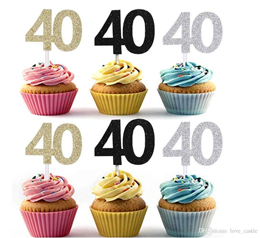 Golden Silver Black 40 Number Cupcake Toppers 40th Birthday