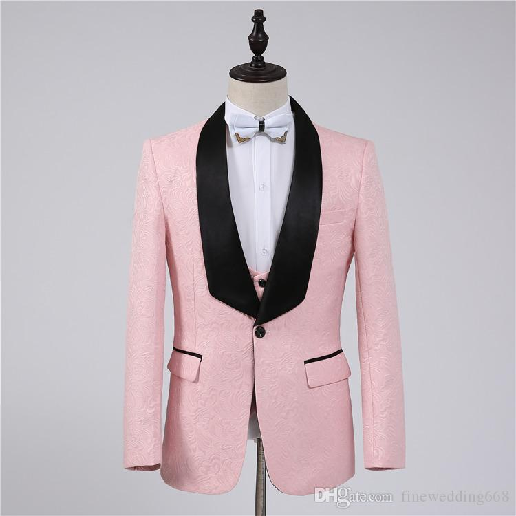 Handsome Pink Groomsmen Shawl Lapel Embossing One Button Groom Tuxedos Men Suits Wedding/Prom/Dinner Best Man Blazer(Jacket+Pants+Tie+Vest)