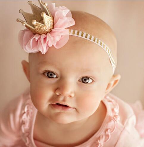 606b8d1e789 Lovely Kid Girl Newborn Crown Headband Princess Queen Crown Hairband Pearl  Tiara Lace Headwear Hair Accessories Vintage Wedding Hair Accessories Green  Hair ...