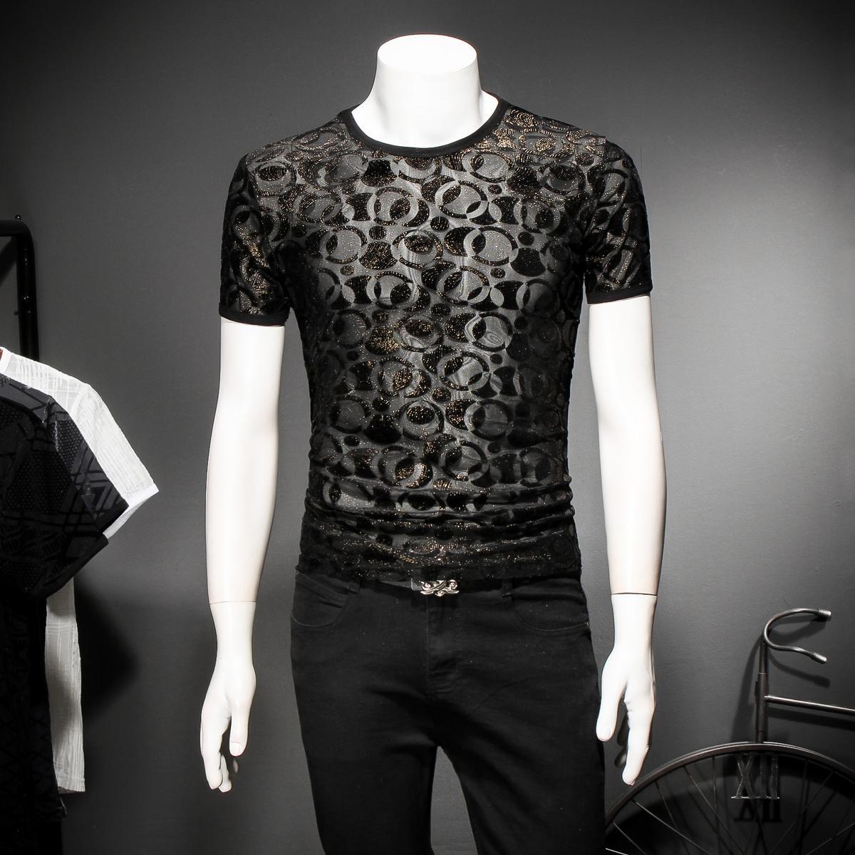 gold mesh t shirt