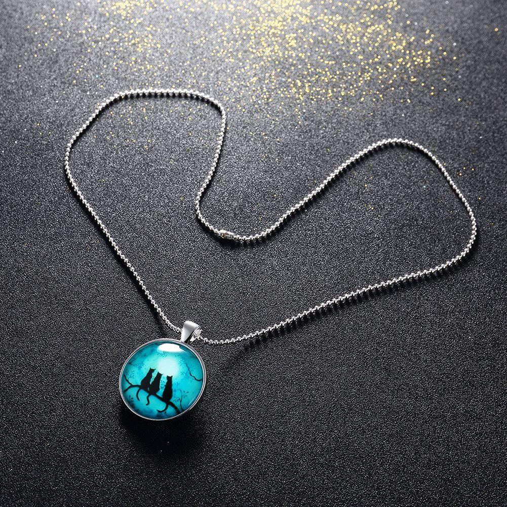 Women's Party Gift 925 Silver Pendant Necklace Three Cat Round Noctiluces Pendant Necklaces 46cm Good Quality n095
