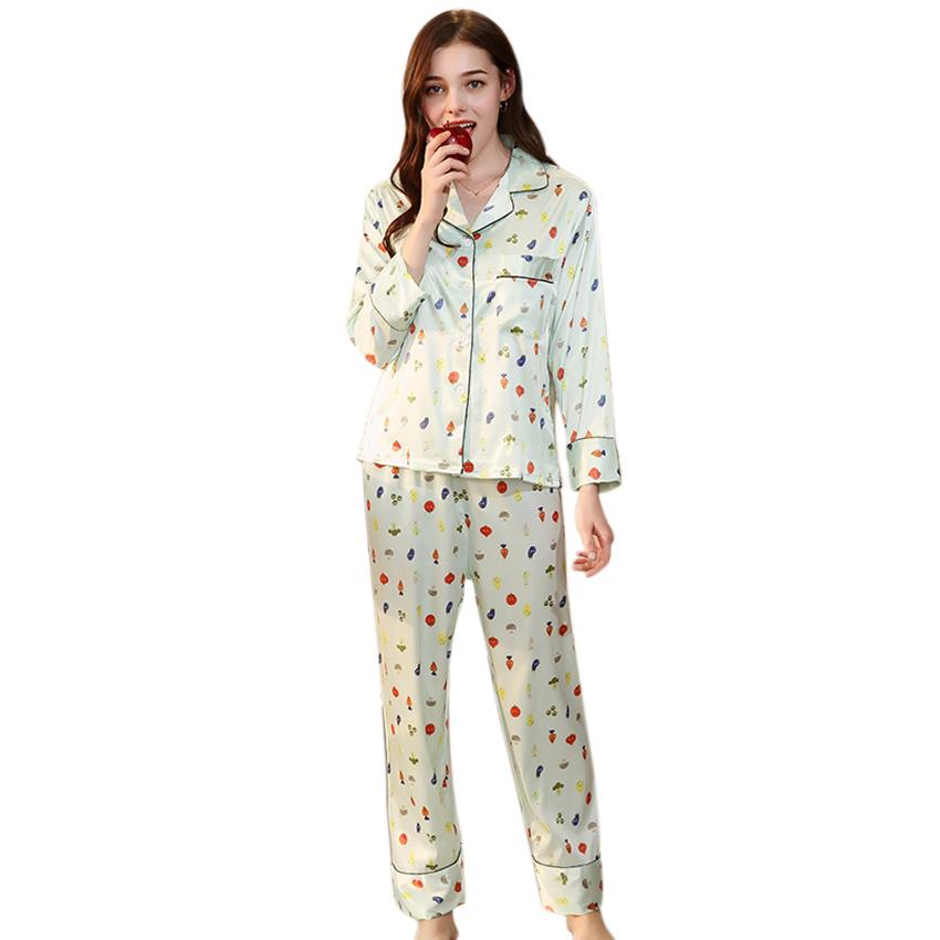 3d179f21bc07 2019 Women Pajamas Sets Cute Print Silk Pajamas Suits Casual Femme Home  Comfortable Women Suits Fruit Green From Pagoda