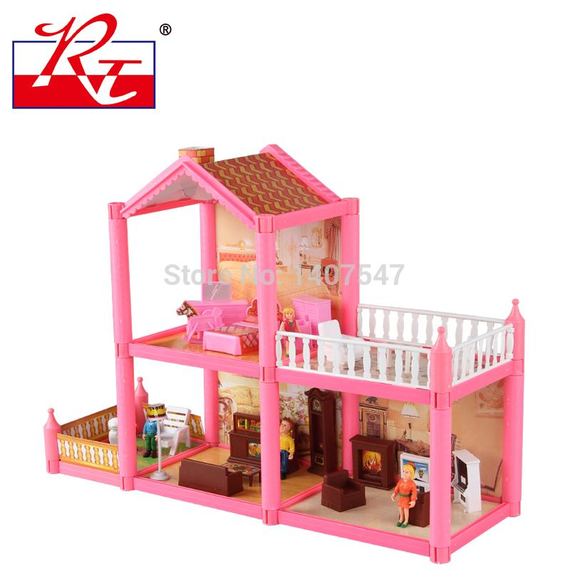 New Pink DIY Plastic Miniatura Doll House Furniture Handmade 3D Miniature  Dollhouse Toys Gits For Girls Large Barbie Doll House Dollhouse Furnishings  From ...