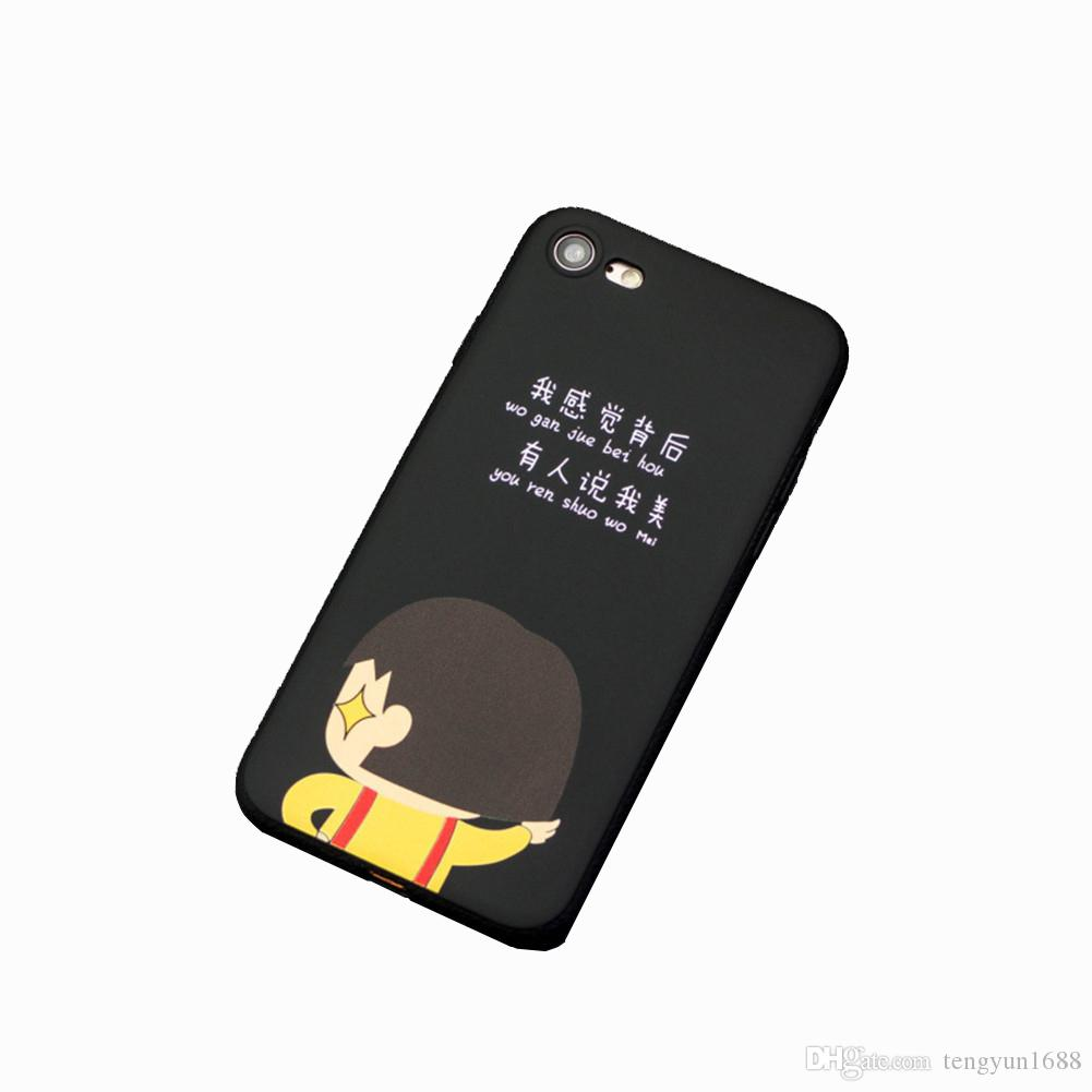 promo code 8516a e571e Couple For iPhone 7/8 Case,Cute Cartoon boy/girl Creative text Soft  Silicone Phone Cover Case For Apple iPhone 7/ 8