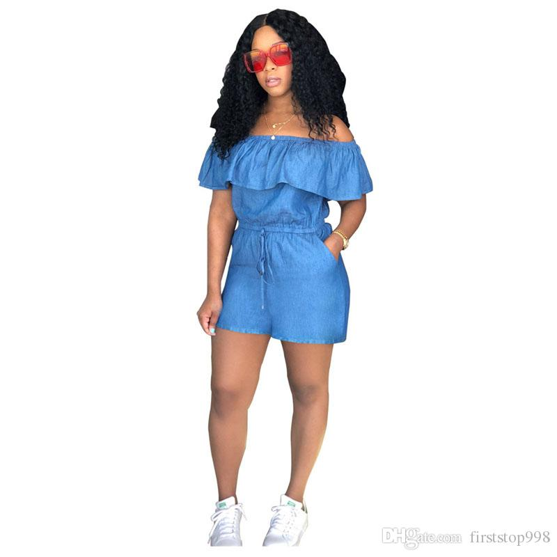cbfc0c5ff02 2019 Cold Shoulder Sexy Denim Playsuit Women Slash Neck Short Sleeve Party  Romper Vintage Blue Ruffles Backless Short Jumpsuit From Firststop998