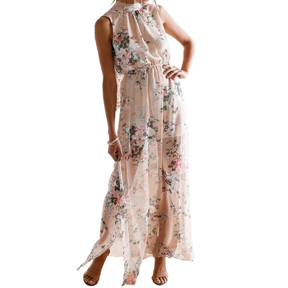 Acquista Boho Summer Maxi Dress 2018 Floreale Stampato Senza Maniche Split  Halter Abiti Lunghi Donna Femminile Sexy Lungo Plus Size GV477 A  31.54 Dal  ... 2e0f094932b