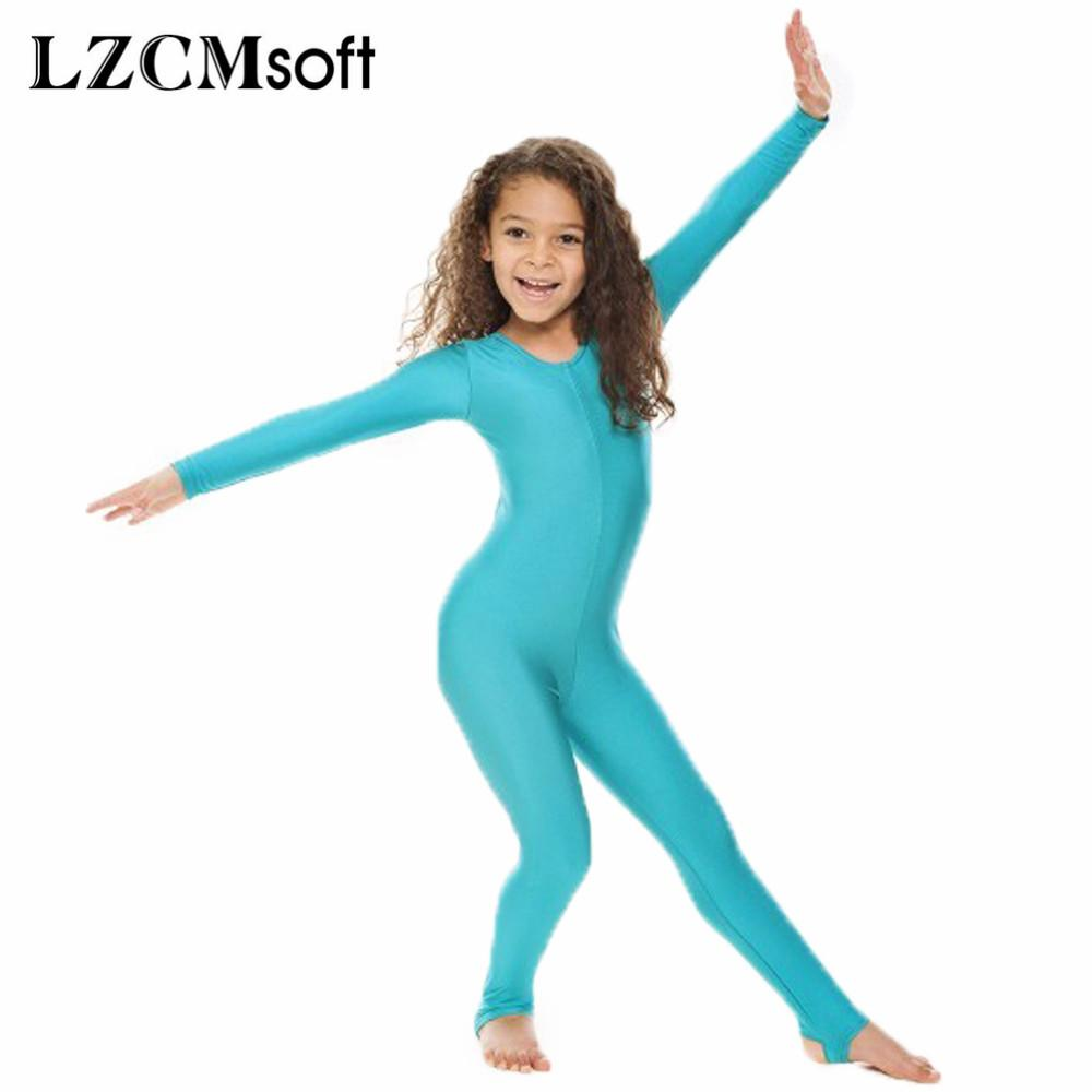 50bf42b1d 2019 LZCMsoft Childrens Girls Shiny Lycra Dance Gymnastics Long ...