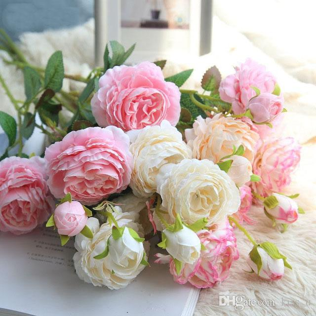 Rose Artificial Flowers 3 Heads White Peonies Silk Flowers Red Pink