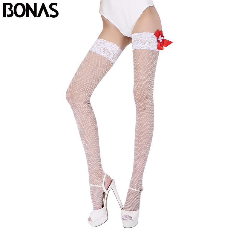 5abaf42c80856 Bonas Fishnet Stay Up Stockings Women Summer Sexy Nylon High Elasticity  Thigh High Knee Socks Solid Color Thin Hollow Stockings