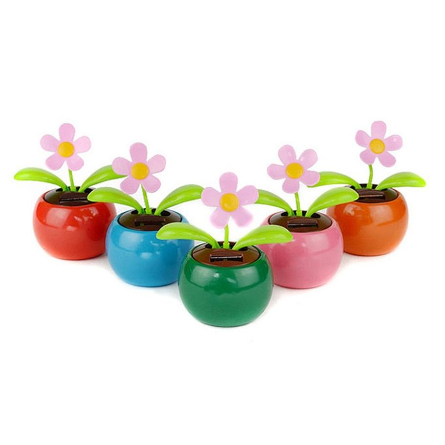 225 & Home Decorating Solar Power Flower Plants Moving Dancing Flowerpot Swing Solar Car Toy Gift Metal Plastic Free Shipping