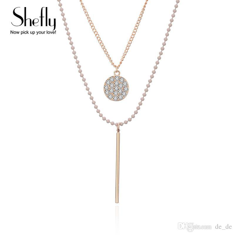 acfc201ca5 Wholesale European Simple Multi Layers Tassels Bar Zircon Coin Necklace  Clavicle Chains Charm Womens Fashion Jewelry Colar Gift For A Girl  Personalized ...