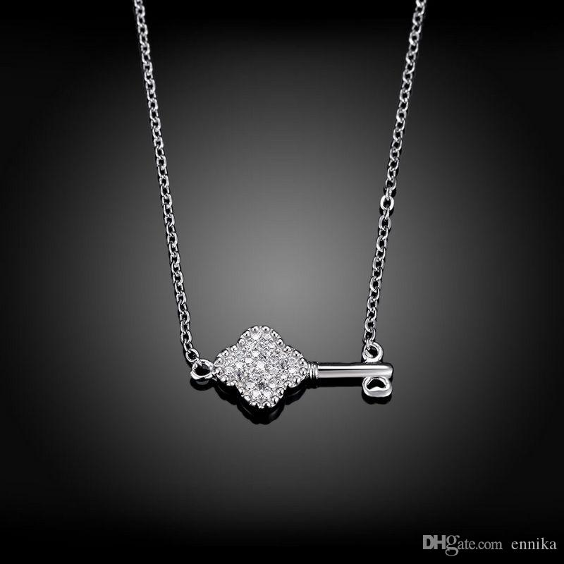 Sterling Silver 925 Necklace Lady Party Jewelry Pure Silver Key Pendant Necklace With Zircon n077