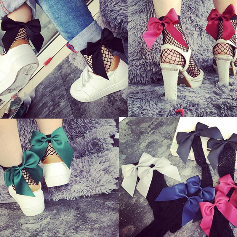 dfb45c9f5 2019 2018 Fashion Cute Women s Harajuku Black Mesh Short Ankle Socks Grid  Fishnet Docks Sexy Bow Funny Ladies Socks In The Net Sokken From Maoyili