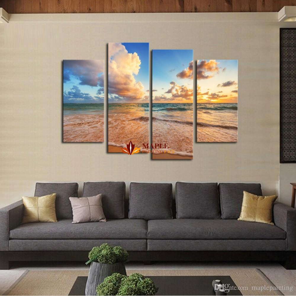 Drop Shipping HD Canvas Prints 4 panel seascape Beach Modern Home Wall Decor Canvas Painting living room wall pictures