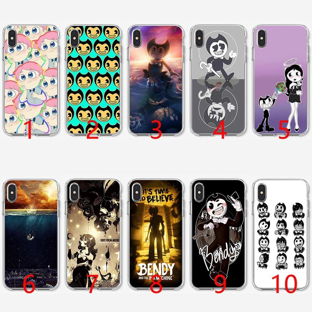 dbf120a8a Compre Bendy E A Máquina De Tinta De Silicone Macio Tpu Phone Case Para  Iphone 5 5s Se 6 6 S 7 8 Plus X Xr Xs Max Capa De Liangdeyou8