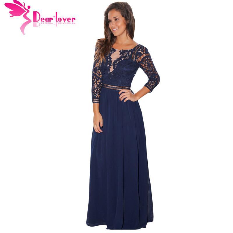 new concept dde33 72d36 Caro Amante Elegante Abito lungo Donna Autunno Navy Nero Pizzo Crochet  Manicotto Quarti Vestito lungo Vestido Longo Robe Donna LC61794