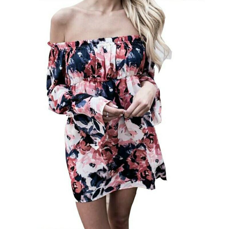 a88e78ce346 Summer Women Vintage Flower Printed Off The Shoulder Slash Neck Dress Sexy  Beach Strapless Lantern Sleeve Loose Mini Dresses Cute Black Party Dresses  Flower ...