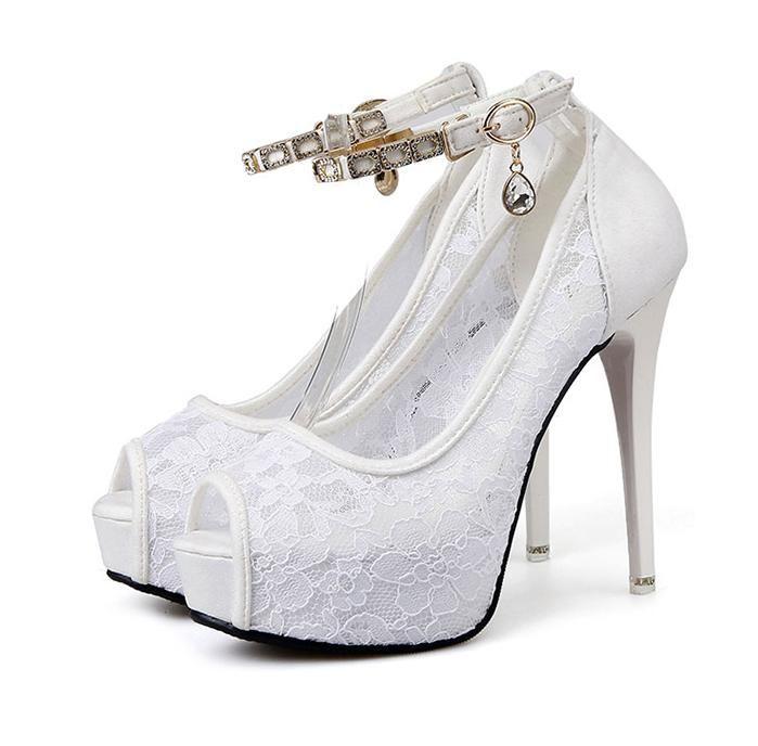 compre zapatos de boda de encaje blanco zapatos de tacón alto para