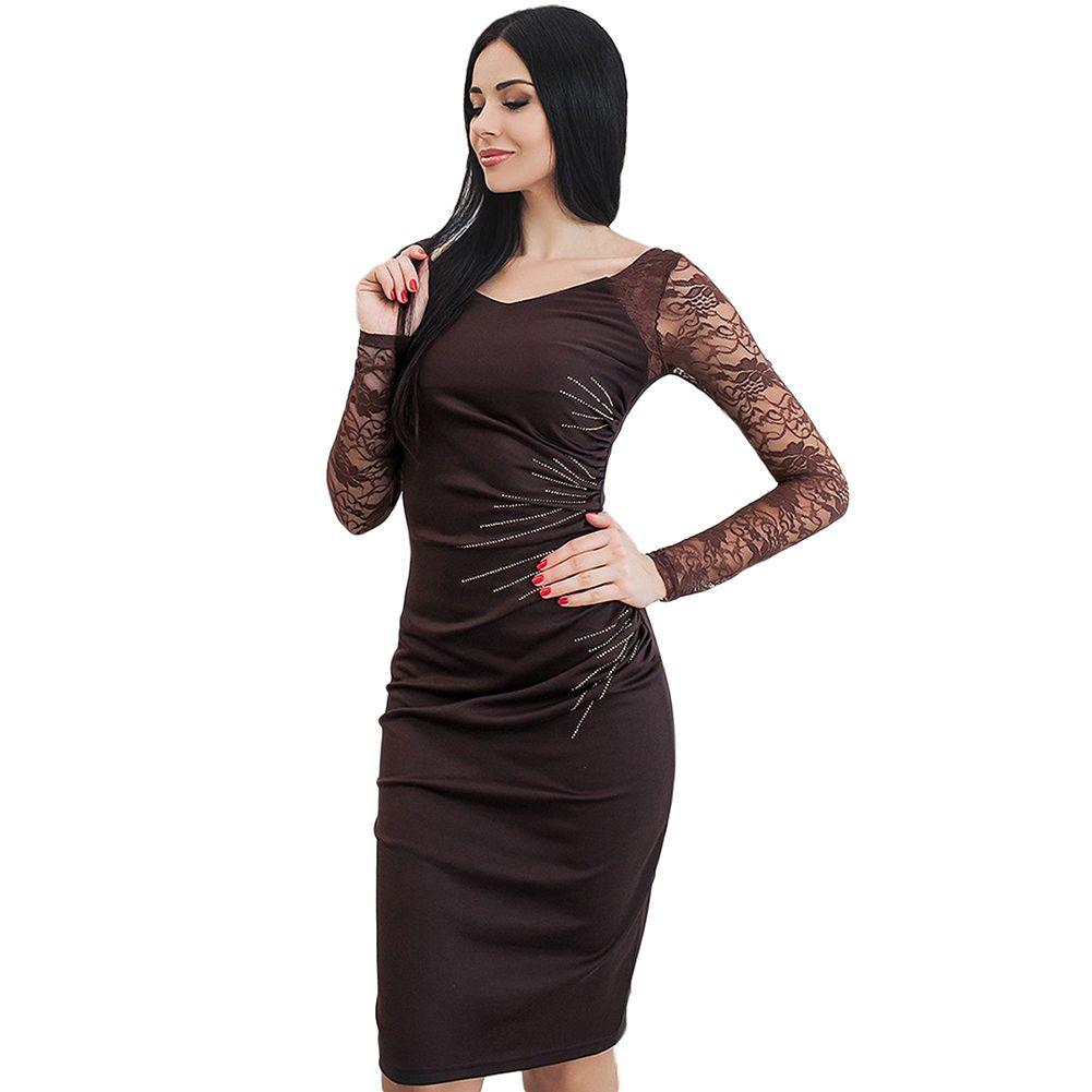 4d5dd5ff6cf 2018 Women Lace Sleeve Dress Party Clothes Ruched Side Back Slit Pencil  Dress Bandage Bodycon Midi Office Ladies Pencil Dress Cute Black Party  Dresses ...