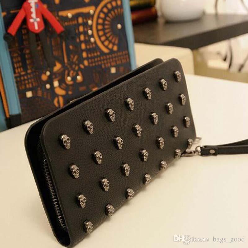 2018 Hot Sale Women Wallets Metal Skull Wallet Card Purse Leather Wristlet ladies long wallets clutch