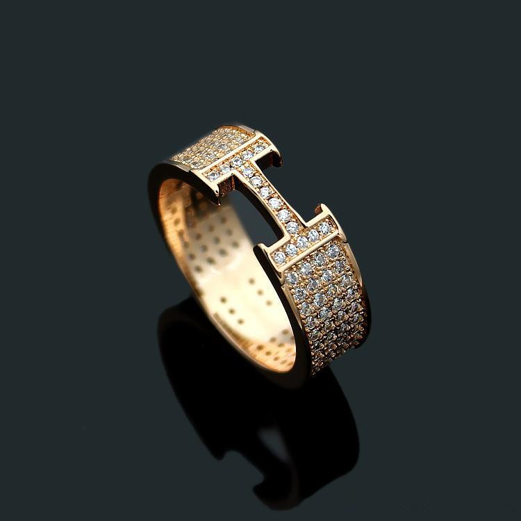 Hot Style Fashion Brand Design Letter Rings Luxury 18K Gold Rose Silver Rings High Quality Men Women Stainless Steel Ring for Couples Gift