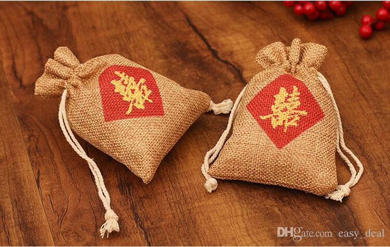"""Burlap Favor Bag"""" Double Happiness """" Chinese Words Printing Wedding Marriage Party Candy Gift Bag ZA6937"""