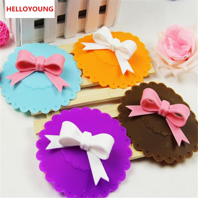 Hot sales Cute 10.5cm Anti-dust Silicone Cup Cover Silicone Lovely Bowknot Cup Cover Coffee Suction Seal Lid Cap
