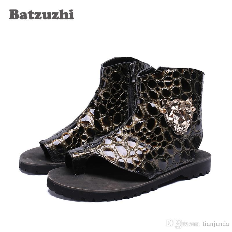f963c20495677 Luxury Designer S Men Sandal Shoes Flip Flops Open Toe Ankle Sandal Boots  Flats Sandalias Mujer 2018 Rome Gladiator Motocycle Sandal Runway Men  Sandals ...