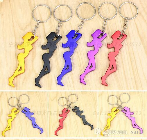 Multi Function Sexy Girl Shaped 2 in 1 Aluminum Alloy Beer Bottle Opener Key Chain Ornaments