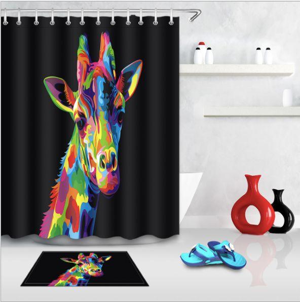 2019 Bathroom Lovely Giraffe Shower Curtain Polyester Fabric Bath Home Decor Afro Girl Deer Curtains Mats From Paintingart2017