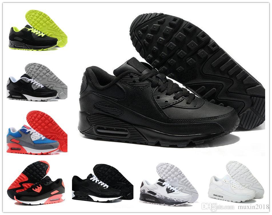 new concept e546f b7b8c Acheter Nike Air Max Airmax 90 Hommes Sneakers Chaussures Classique 90  Hommes Et Femmes Chaussures De Course Noir Rouge Blanc Sport Entraîneur  Coussin ...