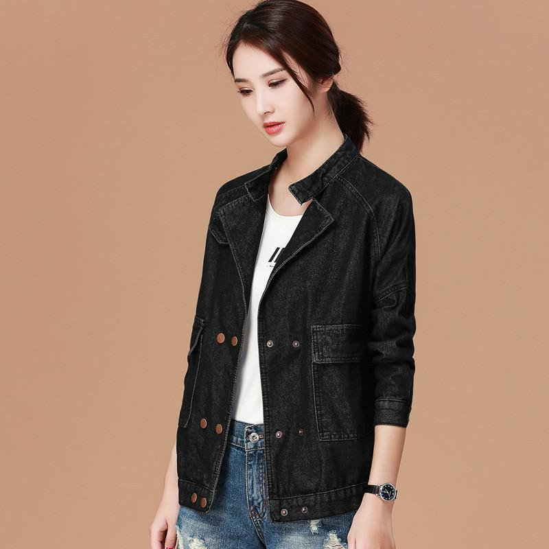Boyfriend Style Girls Black Denim Jacket Fashion Women Casual Loose Jeans  Jacket Raglan Sleeve Double Breasted Oversized M XL Faux Fur Jackets  Overcoats For ... 7cb6c7ff19e7