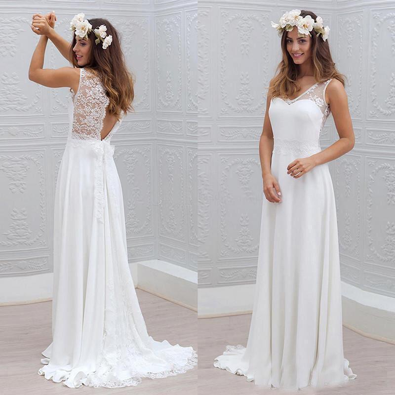 compre largos vestidos de novia de playa baratos 2018 una línea de