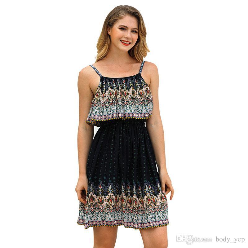 d36483819f Compre Vestidos De Playa Boho Summer Braces Falda Para Mujer Sundress Bali  Island Seaside Vestido es Bohemia Falda A  11.56 Del Body yep