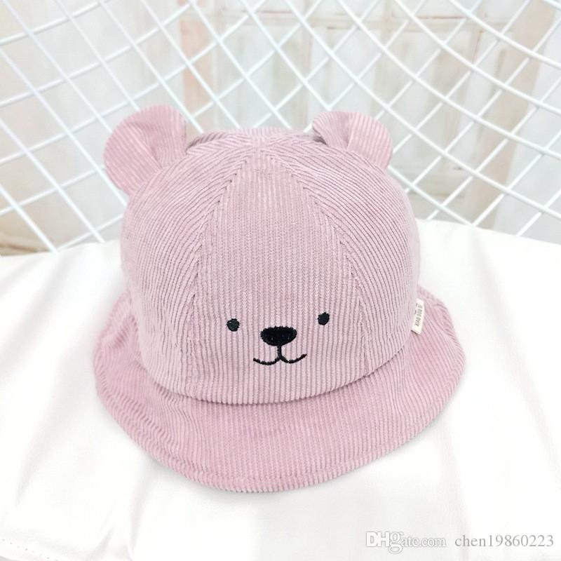 2018 New Children S Fisherman Hat Autumn And Winter Corduroy Girl Basin Cap  Bear Boy 1 2 Year Old Baby Hat Cowboy Hats Stetson Hats From Chen19860223 d32b80aa046