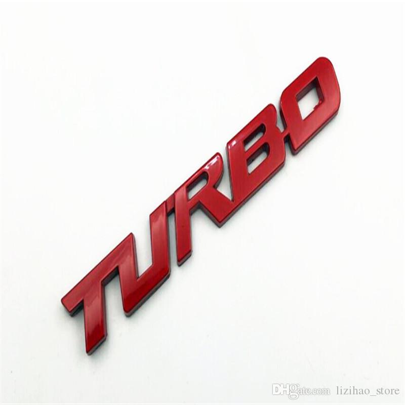Car Sticker 3D Auto Turbo Logo Truck Fender Body Silver / Red Metal Emblem Sticker For A4 Q5