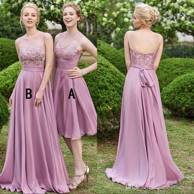 2018 Cheap Dusty Rose Bridesmaid Dresses Long Chiffon A