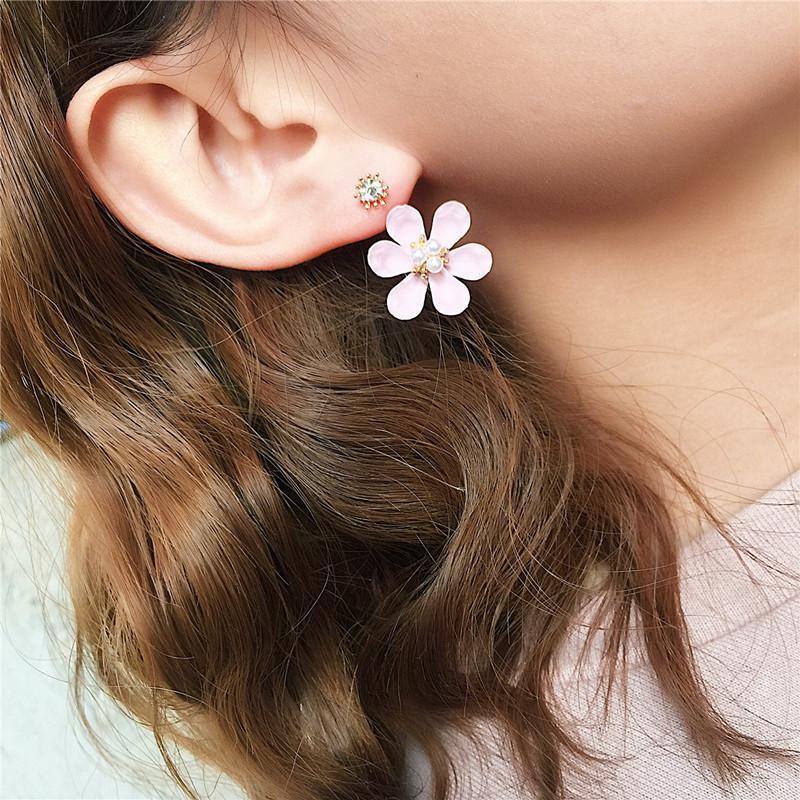 Ajojewel bianco rosa blu smalto fiore orecchio giacca orecchini gioielli simulato-perla orecchini di cristallo donne all'ingrosso
