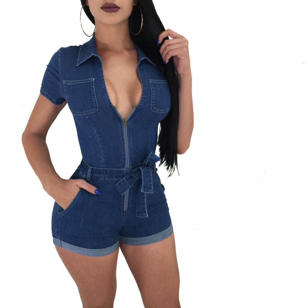 2019 Short Sleeve One Piece Jeans Set Tight Zip Front Sexy Clothing